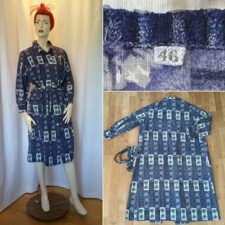 Vintage retro klänning sommar städrocks-modell blå bomull lång arm 60-tal  70- c83943a812dcd
