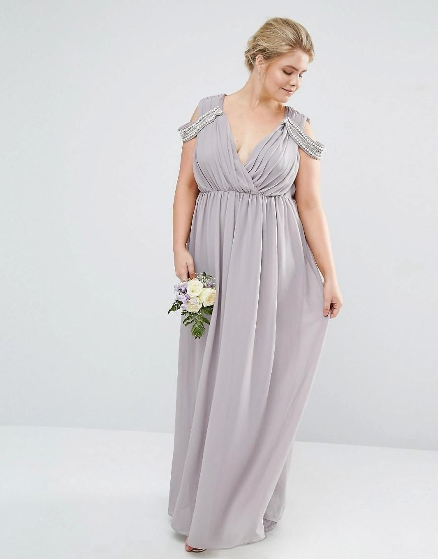Tfnc plus tfnc plus wedding cold shoulder wrap front for Tfnc wedding wrap maxi dress