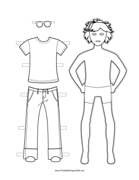 This free, printable Boy Paper Doll has long, surfer hair