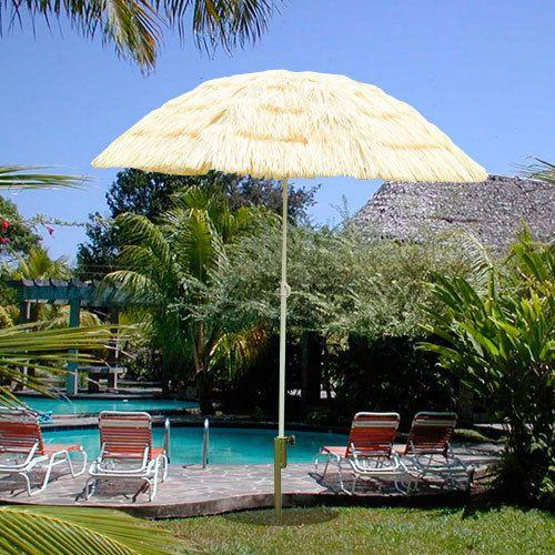 Patio Garden Hawaii Beach Sun Umbrella Sunshade Folding Tilting Parasol