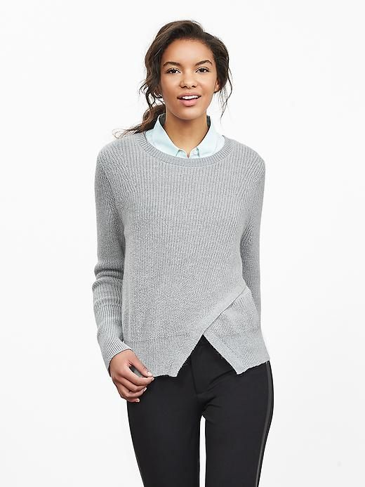 Cutout-Front Crew Pullover
