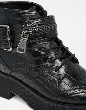 Enlarge River Island Mock Croc Lace Up Ankle Boots