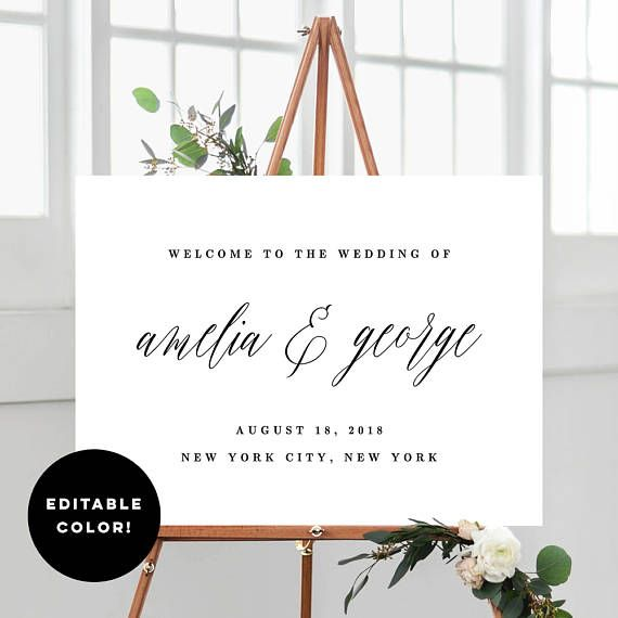 2 Sizes Wedding Welcome Sign Poster Templates With Editable
