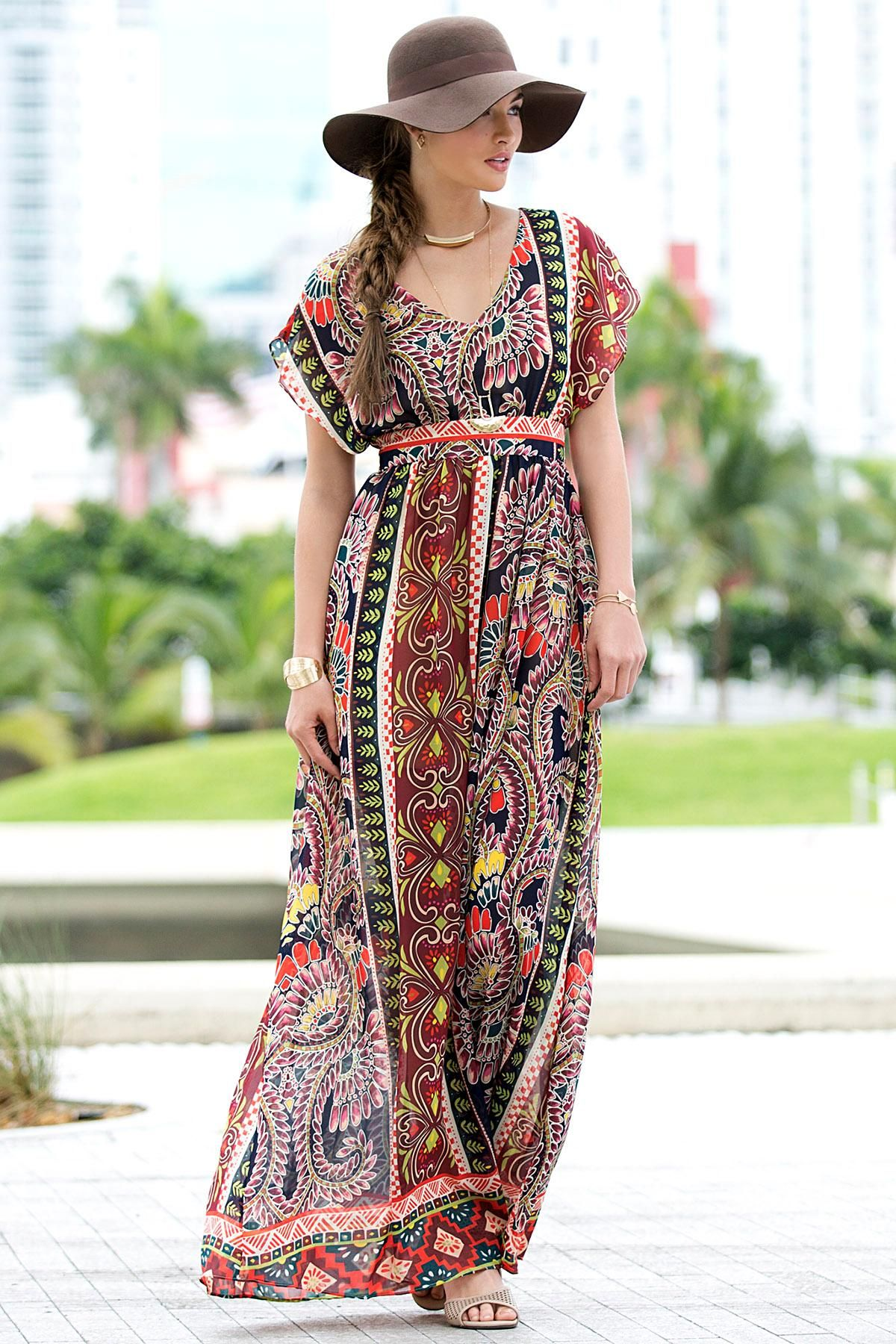 #ShopVersona #Versona - printed #tribal #maxi dress