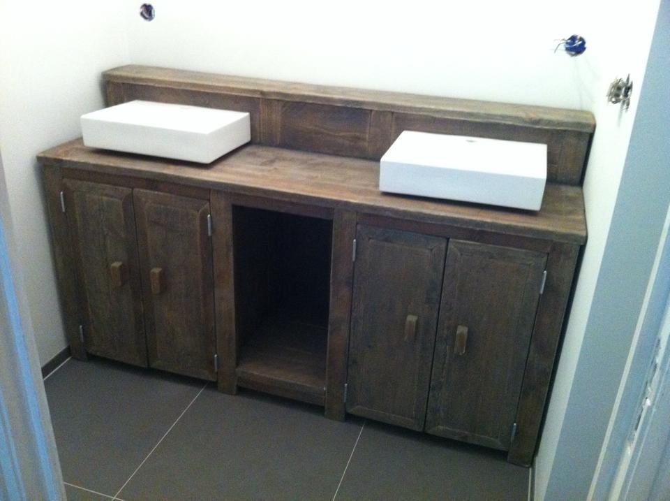Steigerhouten Meubels Friesland : Badkamermeubel gemaakt van oud steigerhout de meubels worden