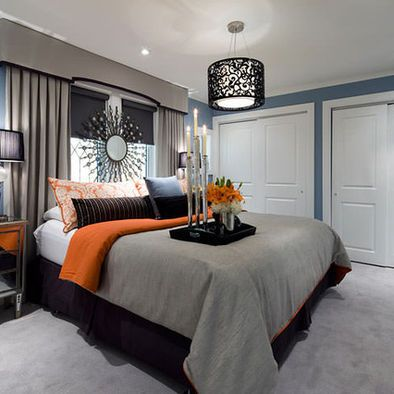 Jane Lockhart Blue Gray Orange Bedroom Bedroom Interior Bedroom Orange Modern Bedroom Interior