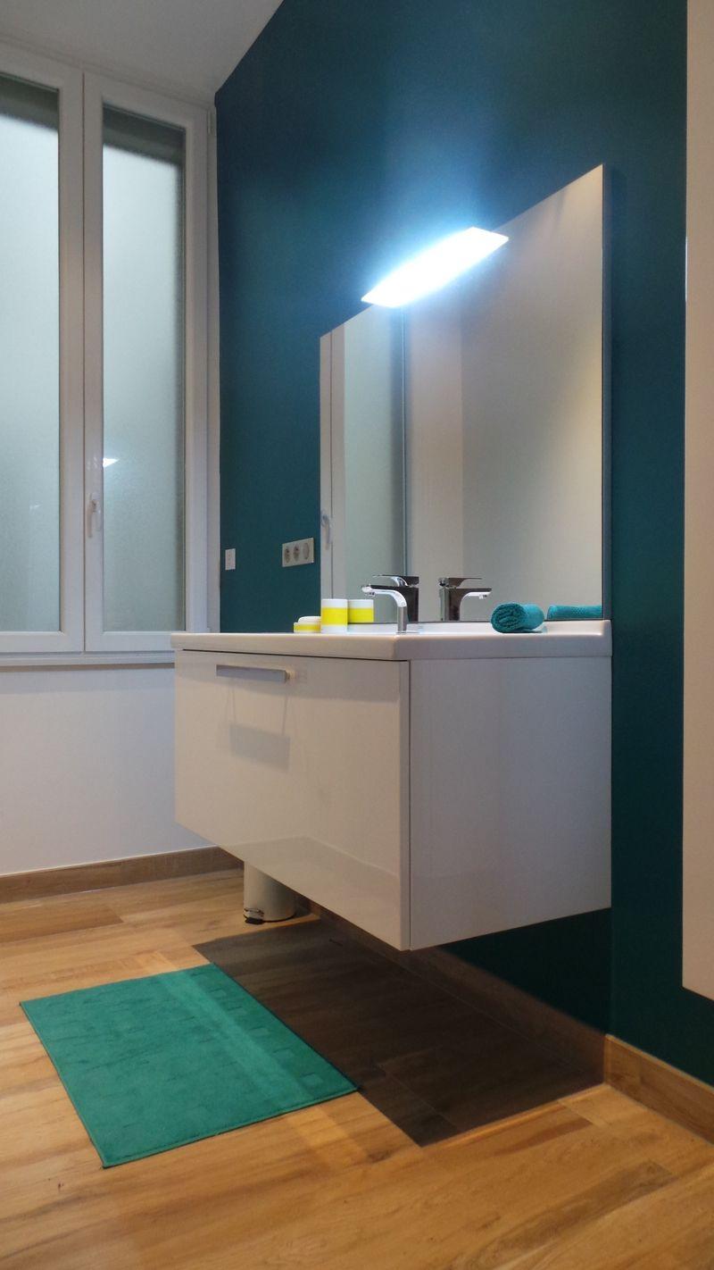 salle de bain mur bleu canard
