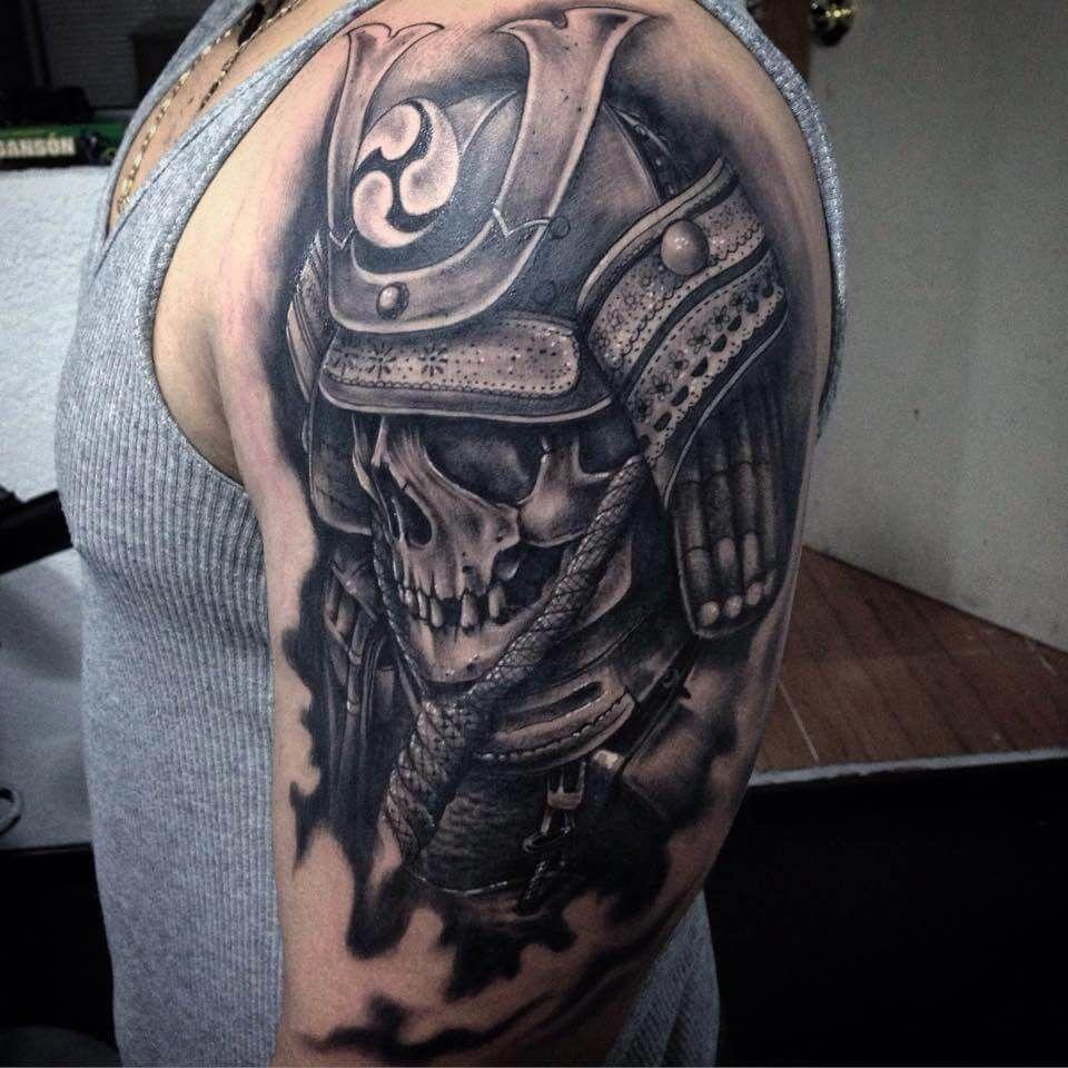 Black Ink Warrior Skull Tattoo On Man Left Half Sleeve By Pig Legion Tattoosformen Arm Tattoos For Guys Half Sleeve Tattoos For Guys Best Sleeve Tattoos