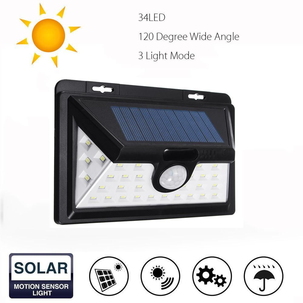 34 Led Solar Power Light Motion Sensor Outdoor Security Lamp Garden Waterproof Motion Sensor Lights Solar Powered Lights Solar Motion Lights