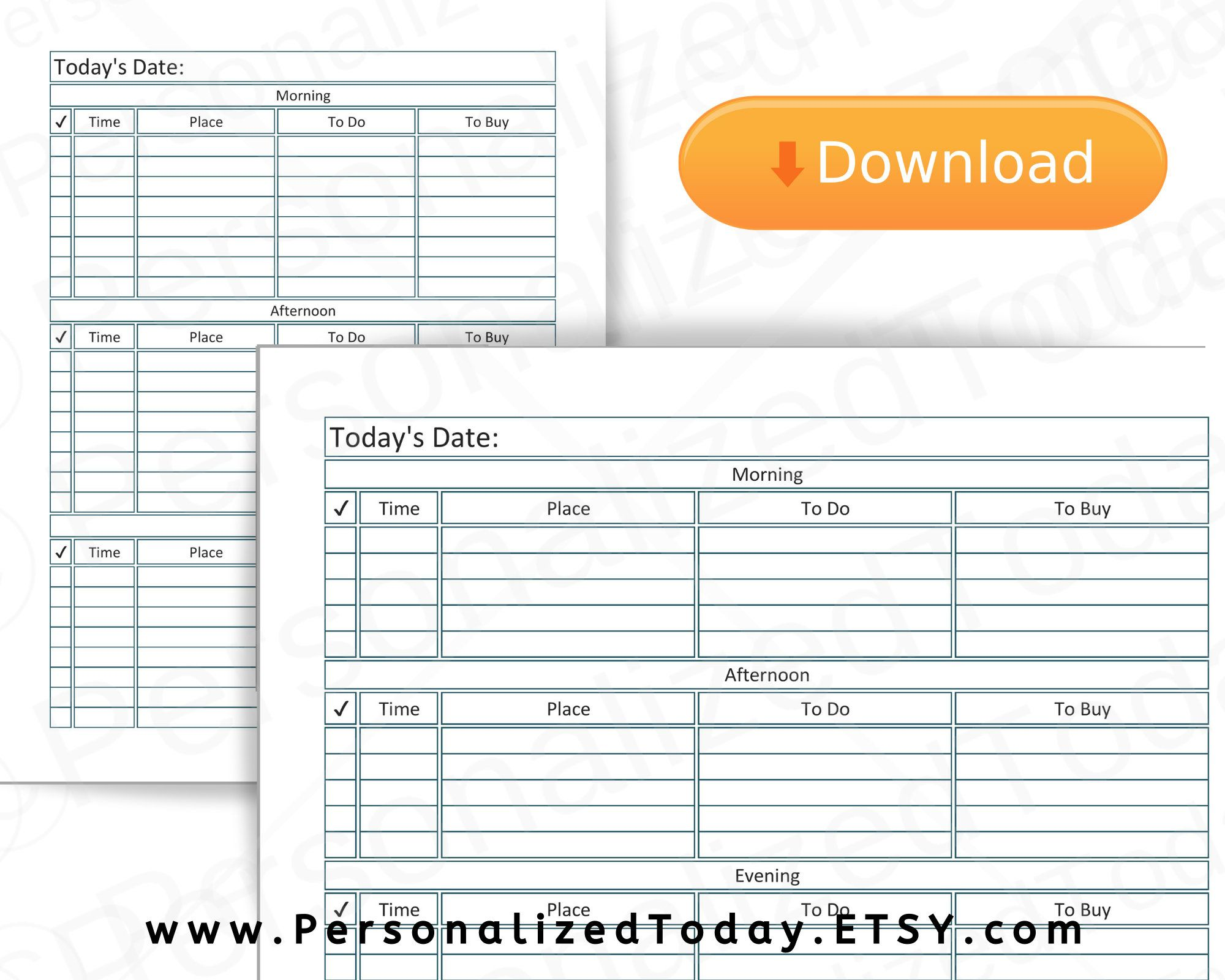 Printable Daily Plan Morning Afternoon And Evening Time