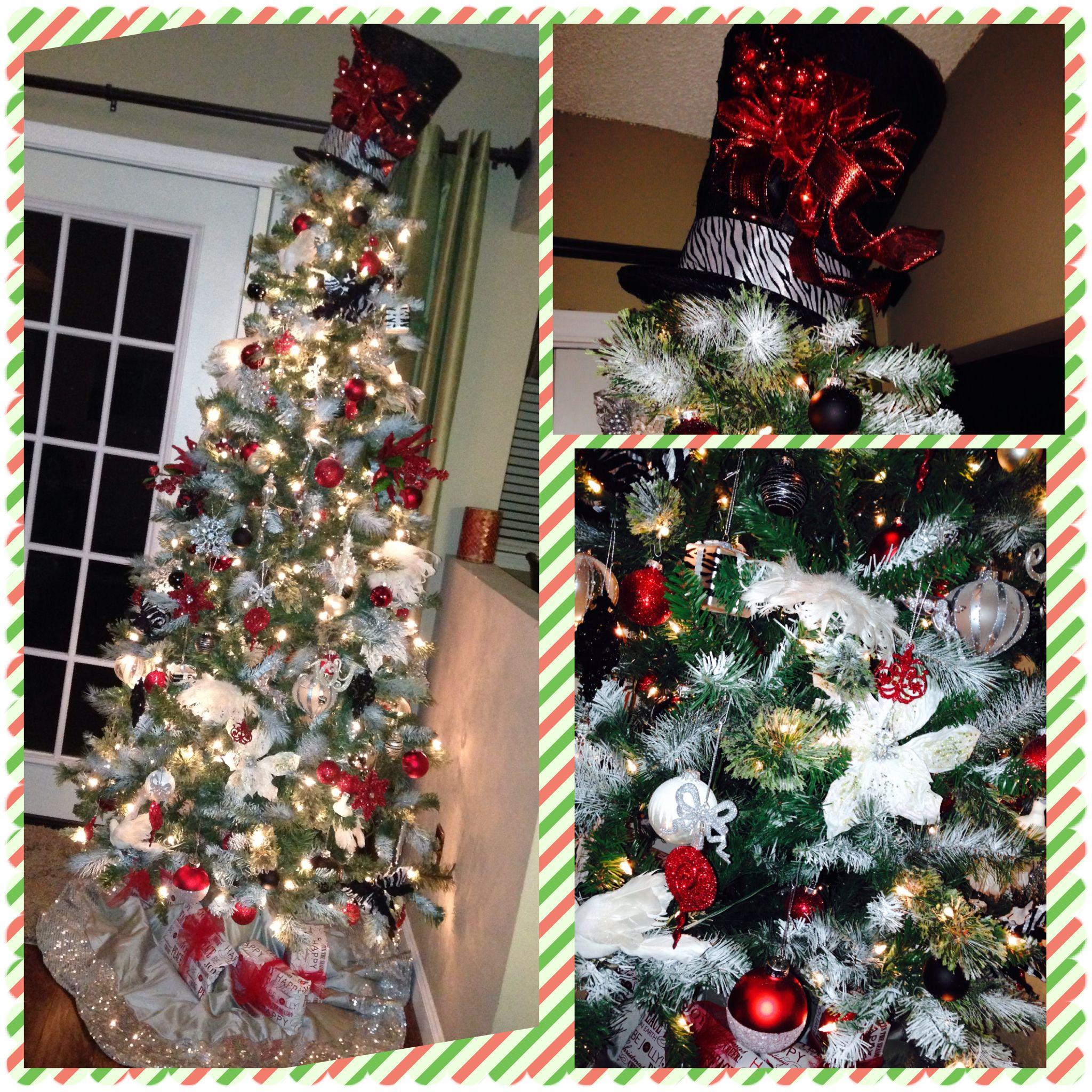 Garden Ridge Christmas Trees.Christmas Tree With Custom Top Hat Topper Zebra Red Silver