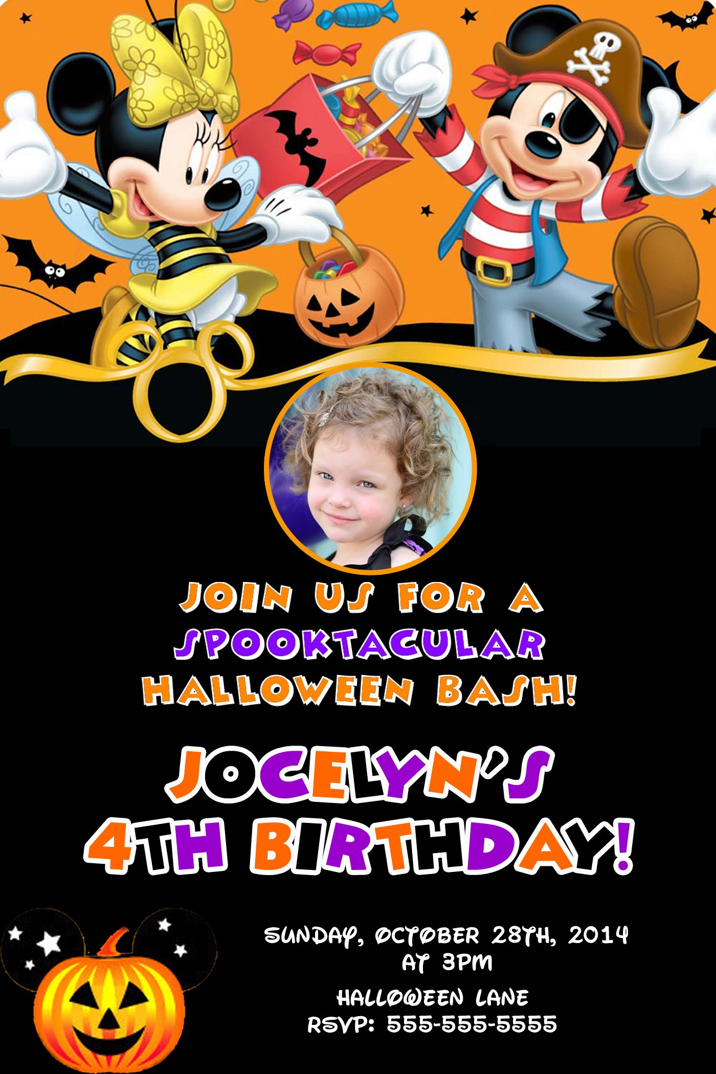 Mickey and Minnie Mouse Halloween Birthday Invitations $8.99 ...