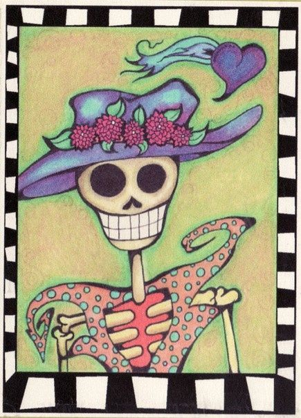 katrina muertos with purple hat   Skeleton with Purple Hat Greeting Card by GreenHeartGallery, $4.00