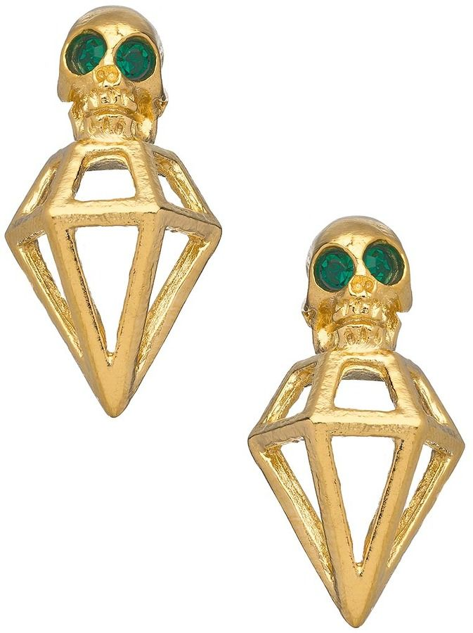 1700f3f1f Michael Spirito Skull Diamond Shaped Post Earrings on shopstyle.com ...