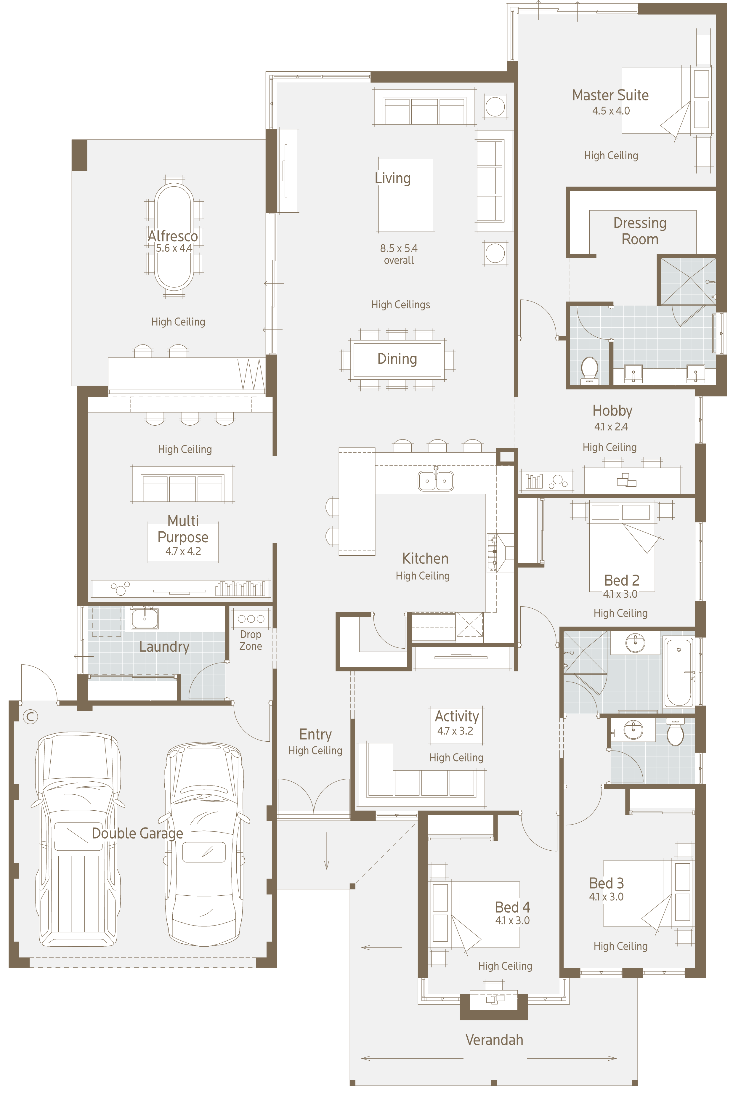 Heres a nice floor plan for a normal residential block what i immediately liked is the multipurpose room