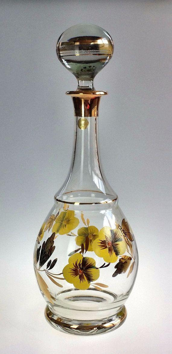 Hand Painted Romanian Gl Vintage Bottle