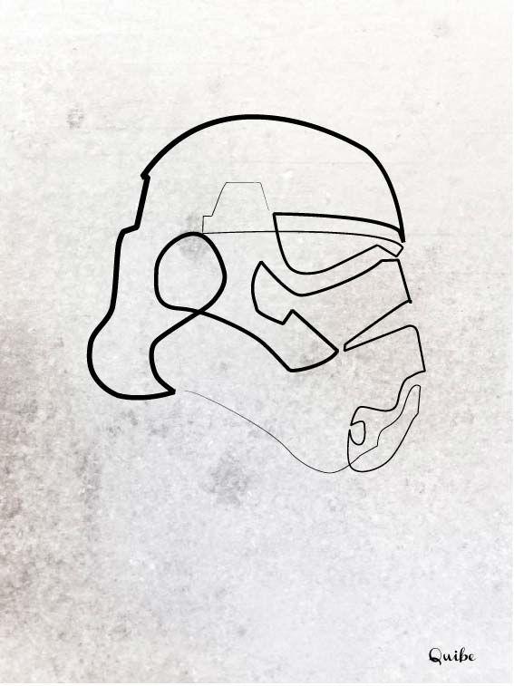 18 Dibujos Muy Geeks Hechos Con Una Sola Linea Line Illustration Star Wars Tattoo Line Drawing