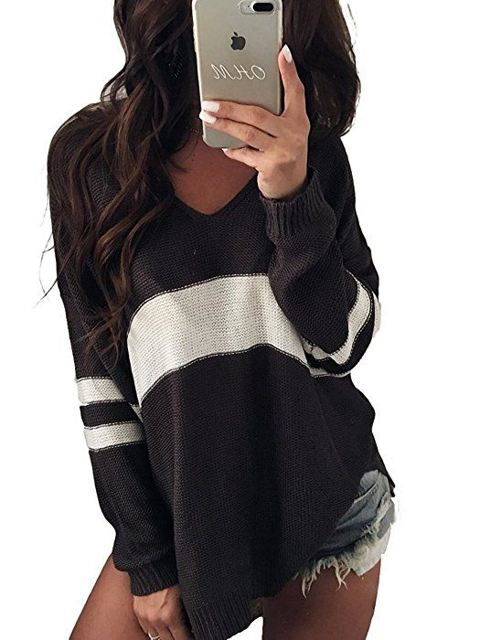 f054f049ff5d Dokotoo Womens Casual Oversized Long Sleeve Fall Winter V Neck High Low  Loose Striped Color Block Knit Sweater Under 20 Pullover Tops Khaki Small  at Amazon ...