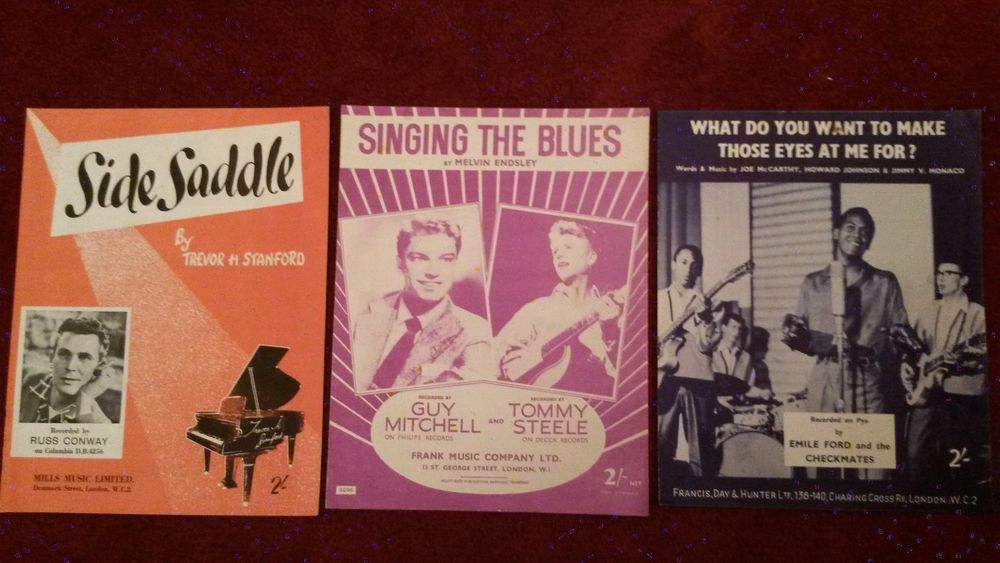 Three Vintage Music Sheets 1940s-1950s Singing the Blues, What do you want to ..