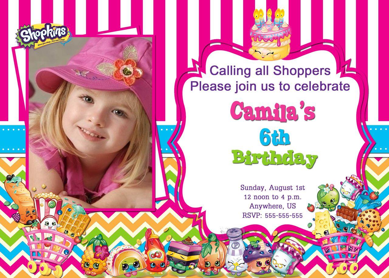 Shopkins Birthday Photo Invitations Season 2 Shopkins Birthday