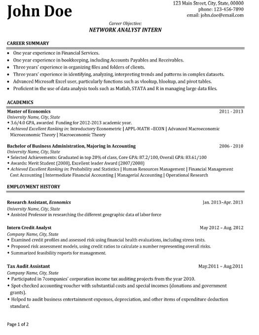 Click Here To Download This Network Analyst Intern Resume Template