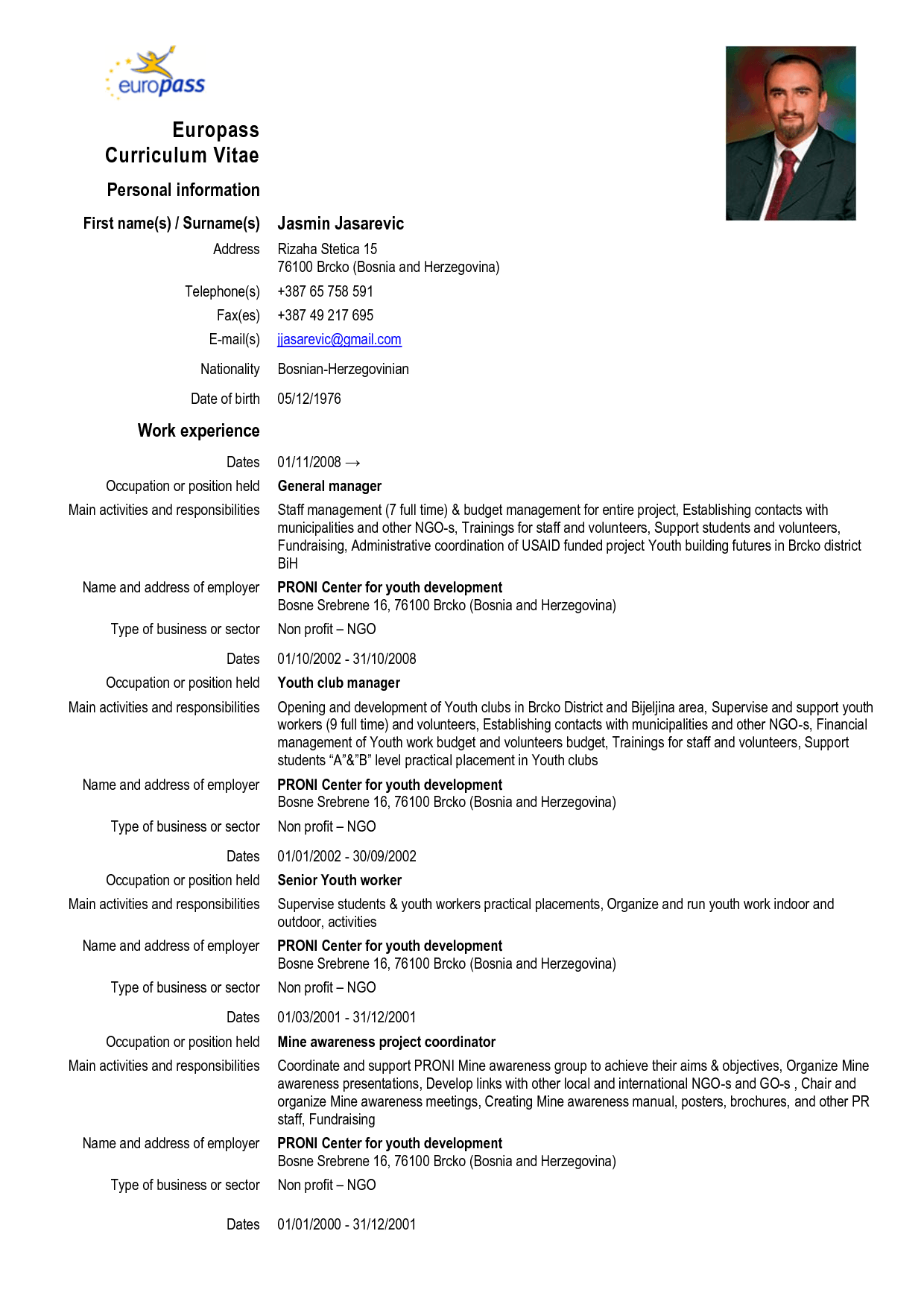 cv europass informatique exemple
