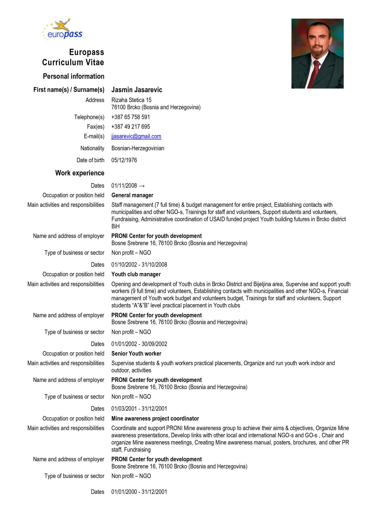 Europass Curriculum Vitae Europass Cv Format Doc Modelo