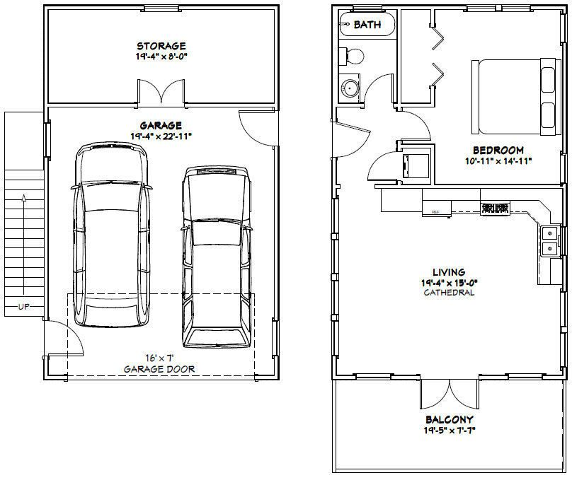 Plan W2225sl One Story Garage Apartment: 20x32 House -- 1 Bedroom -- 4:12 Roof Pitch -- PDF Floor