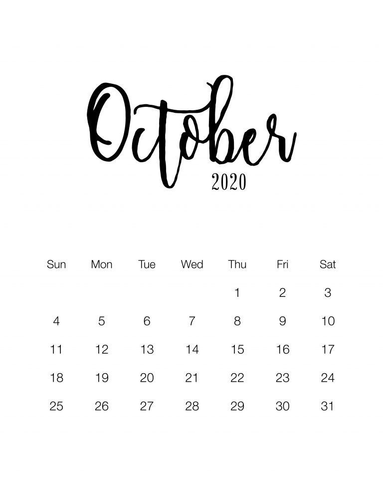 50 Free Printable October 2020 Calendars with Holidays in