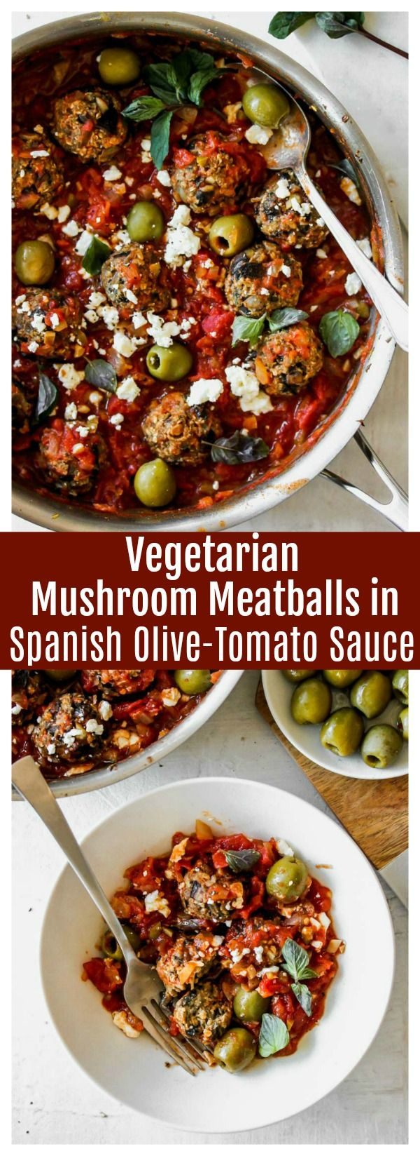 Vegetarian Mushroom Meatballs In Spanish Olive Tomato Sauce