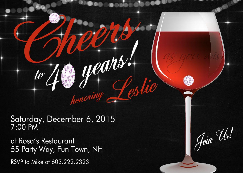Wine Birthday Party Invitation Printable Invitation Elegant 30th Birthday 4 Wine Birthday Party Christmas Party Invitations Printable 40th Birthday Invitations