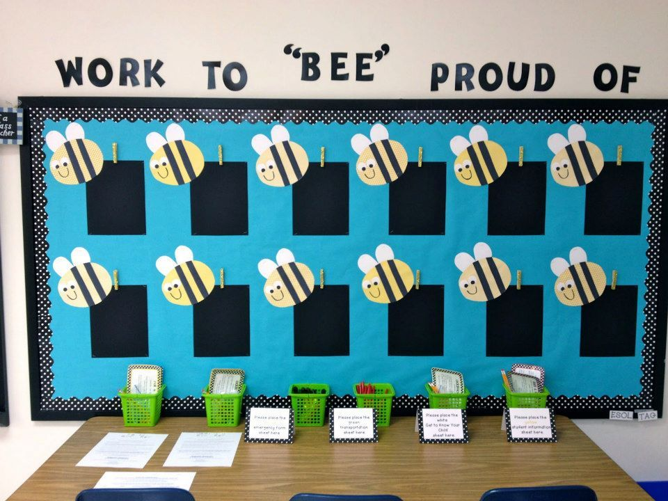 Work to bee proud of bumble bee classroom pinterest for Decorating bulletin boards for work
