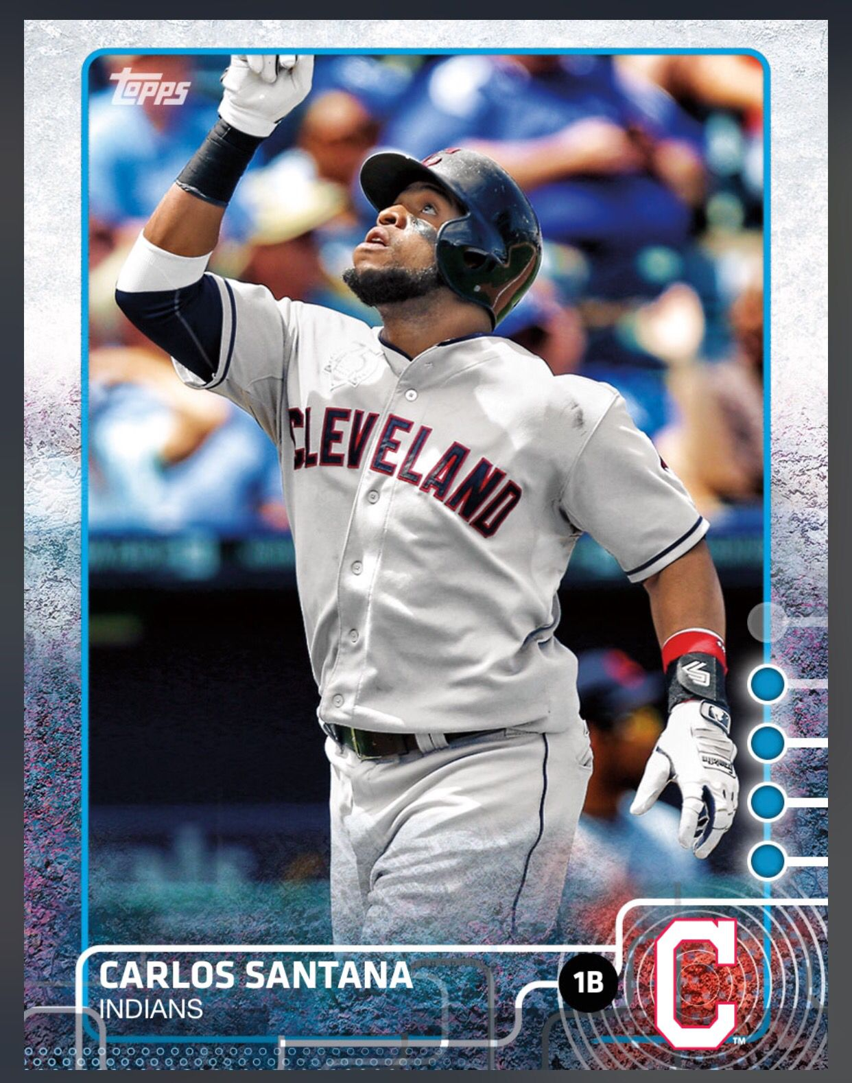 Carlos Santana Cleveland Indians Blue Parallel Card 2015 Topps Bunt