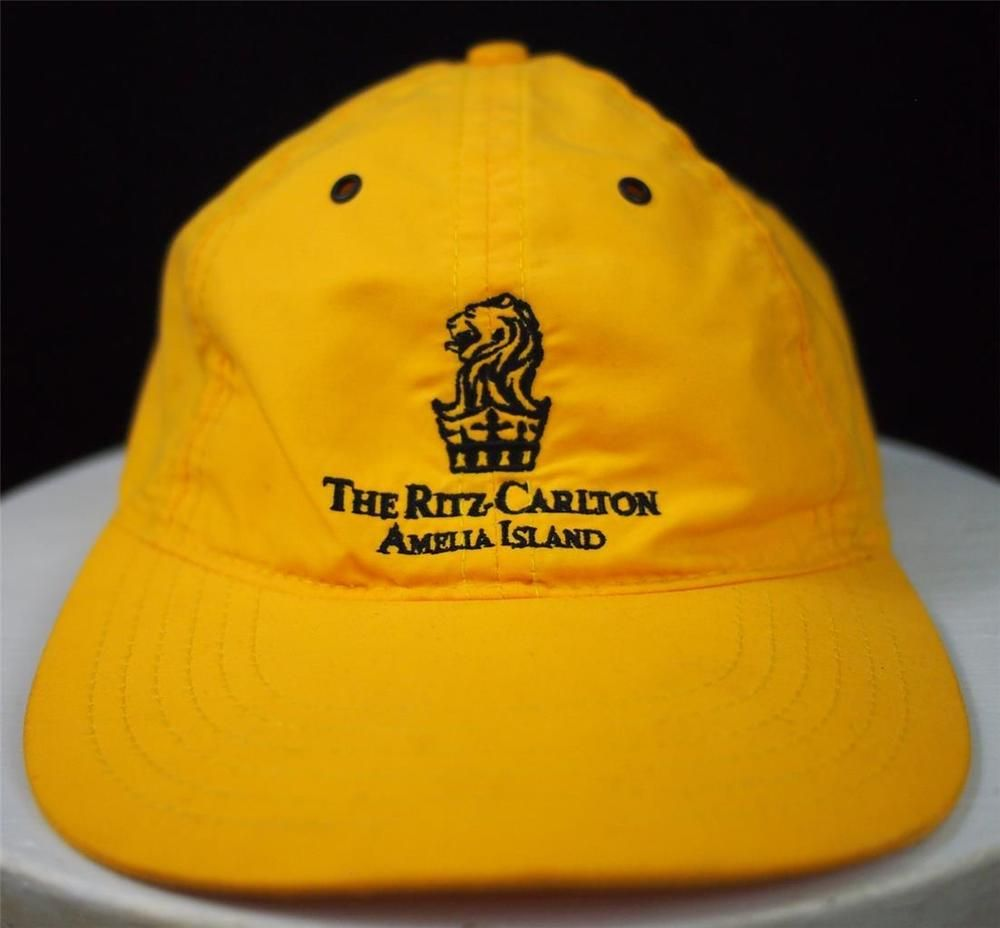 The RITZ CARLTON Amelia Island Yellow Golf Baseball Cap Hat Strapback EUC  26670c276ef