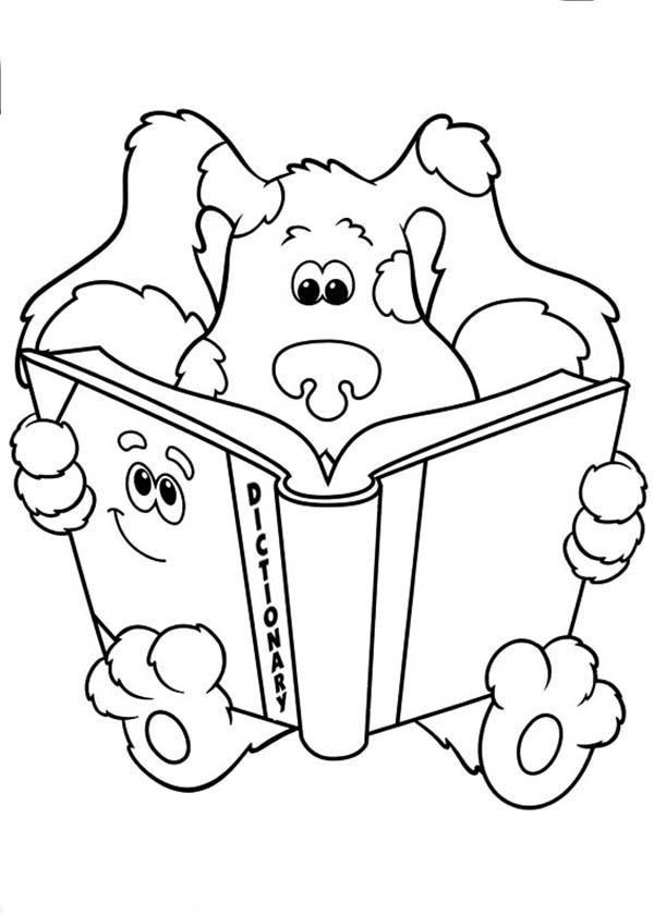 Blues Clues Read A Dictionary Coloring Page Coloring Sun Coloring Pages Blues Clues Blues Clues Characters