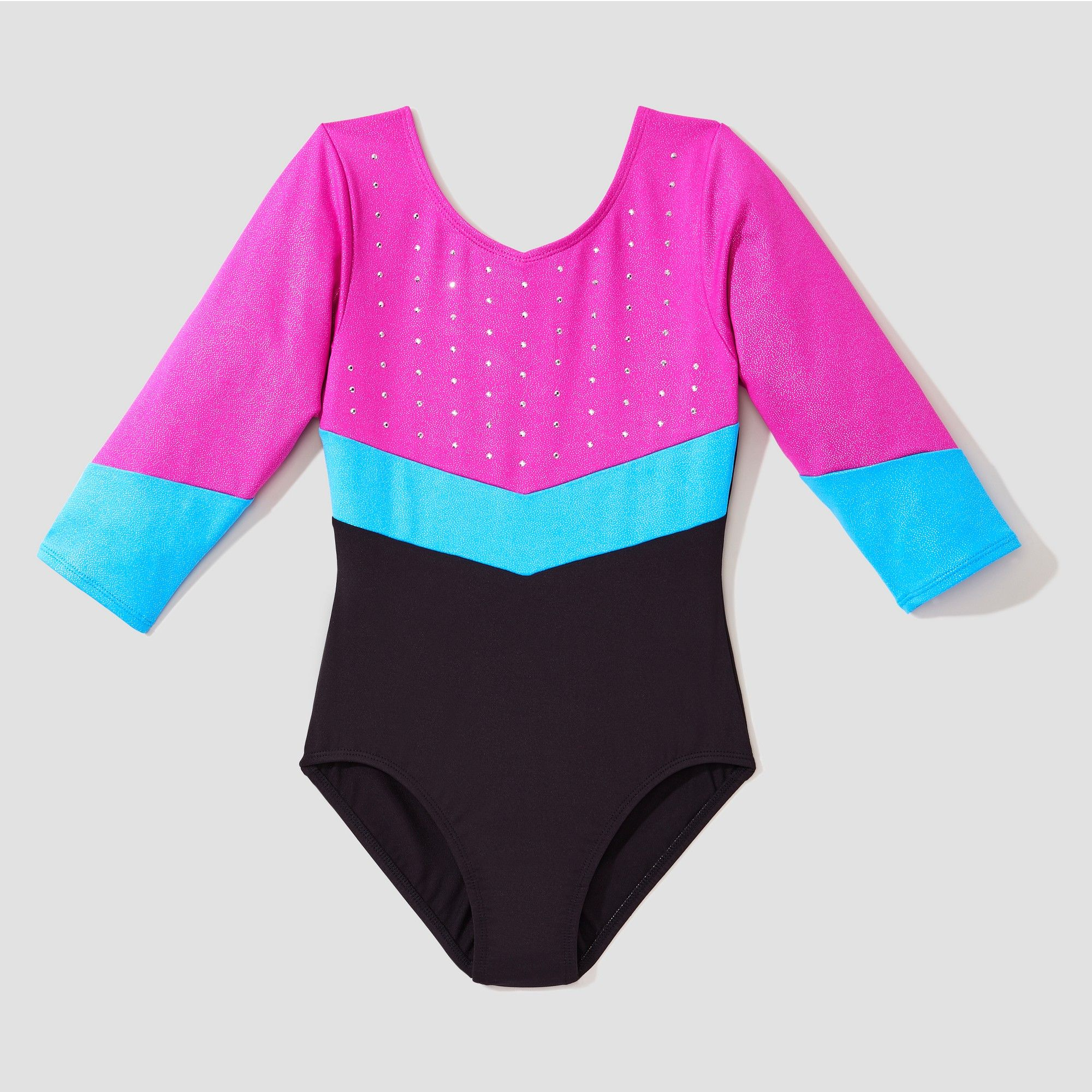 Freestyle by Danskin Girls Big Three Quarter Sleeve Gymnastics Leotard