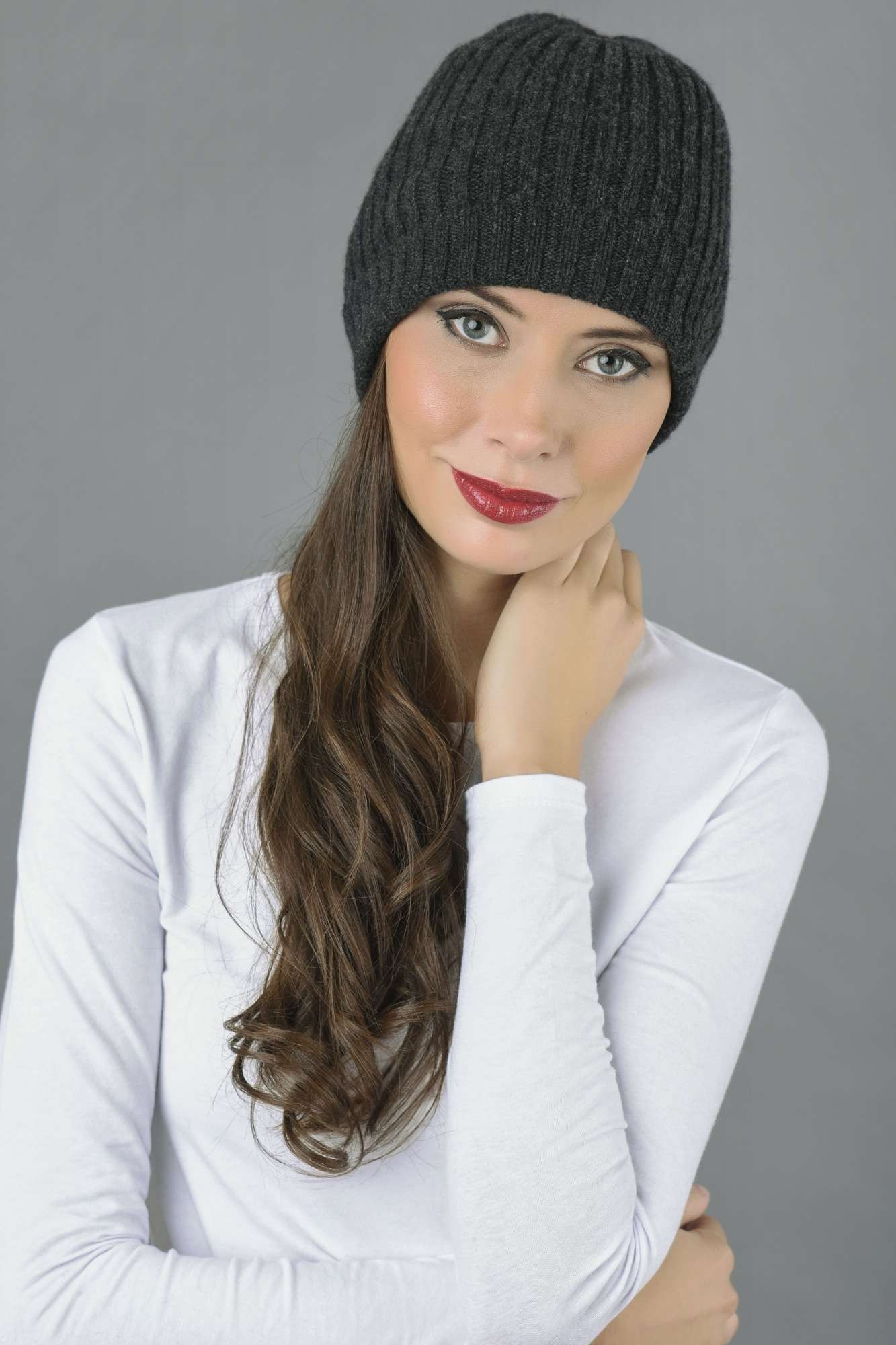 8d7cac0bd8b65 Pure Cashmere Fisherman Ribbed Beanie Hat in Charcoal Grey Italy in Cashmere