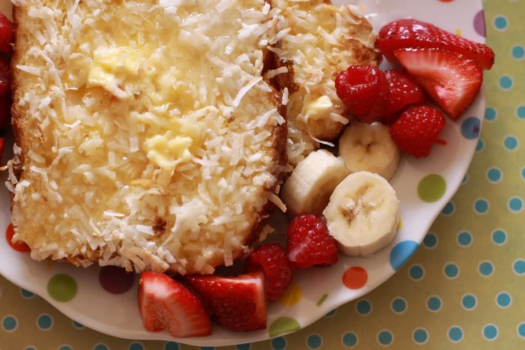 Coconut Crusted French Toast with Bananas and Berries - A Sparkle of Genius