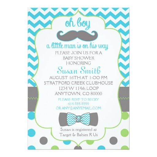 Oh Boy Chevron Mustache Baby Shower Invitation Invitations