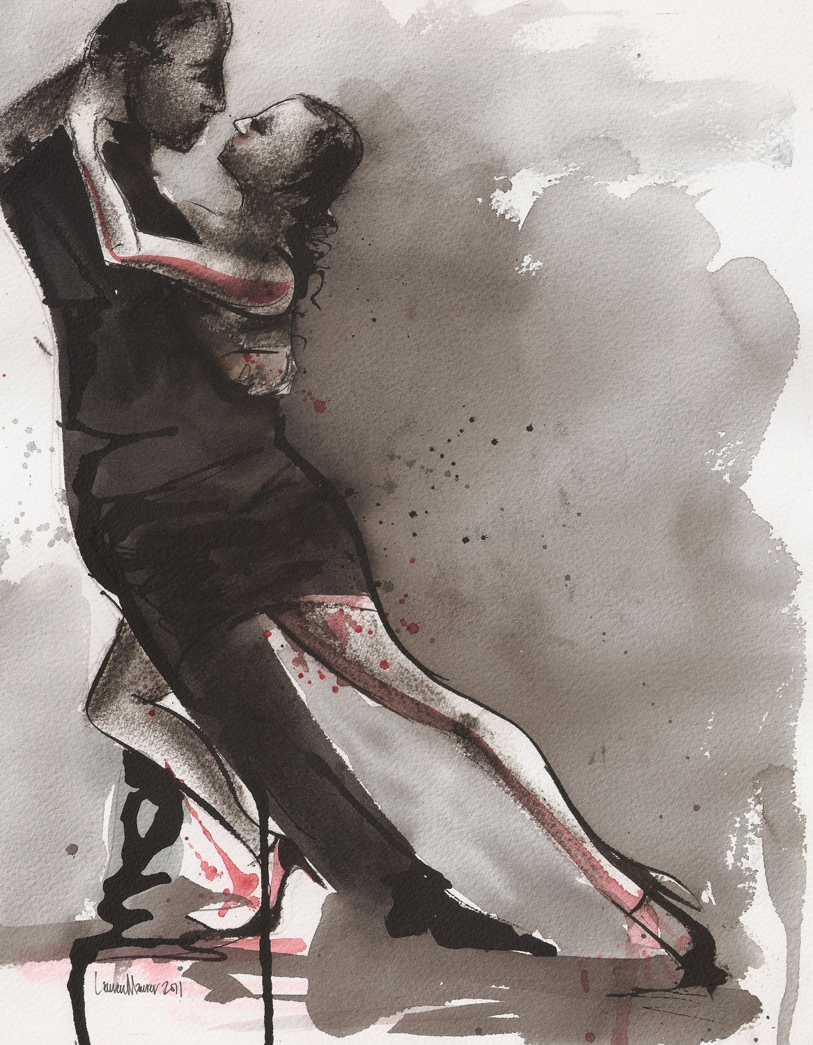 Print - Watercolor and Charcoal -  Untitled Tango 2- 11x14 - Lauren Maurer Artworks on Etsy. $25.00, via Etsy.