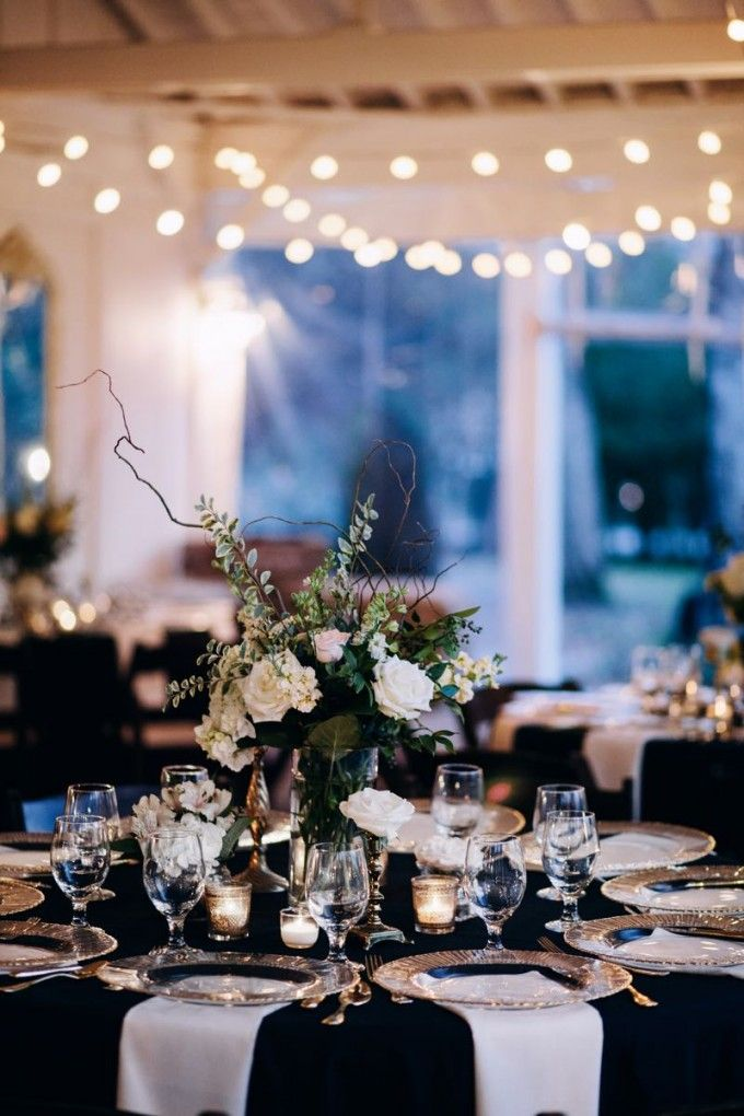 Elegance In Black And White All The Right Touches Of Gold Cedarwoodweddings Formally Casual Wedding LinensWedding Reception Decorations