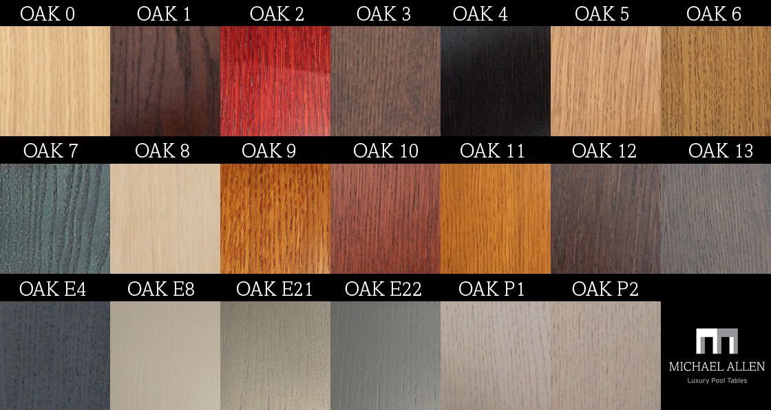Our full selection of Oak wood colour options for our Pool Tables and matching accessories and furniture.