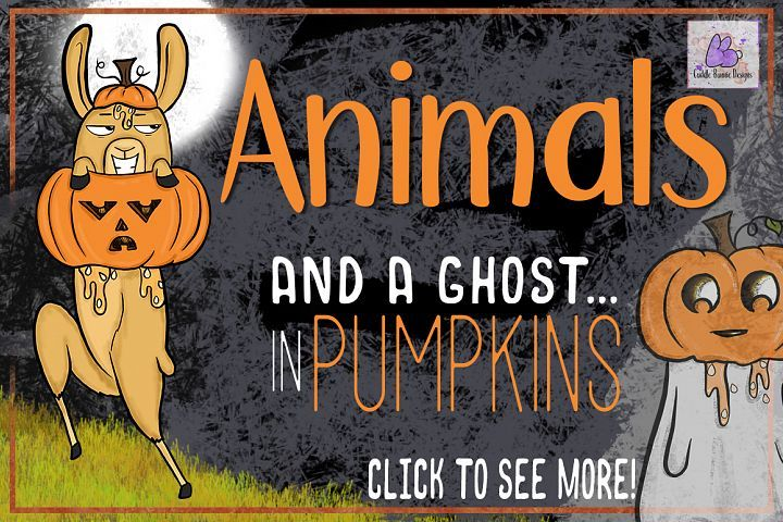 Halloween Animals in Pumpkins Clipart, Sublimation, Llama ...