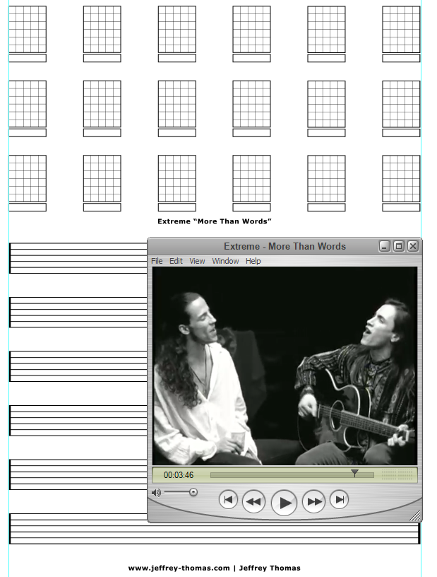 """""""More Than Words"""" guitar tab by Extreme. Learn to play this classic acoustic ballad on guitar with accurate tab by Jeffrey Thomas."""