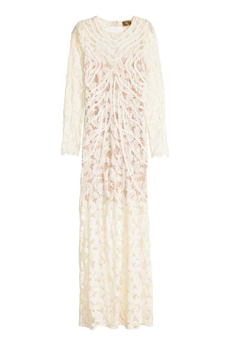 Long lace dress long dress in stretch lace with ribbon appliqués a