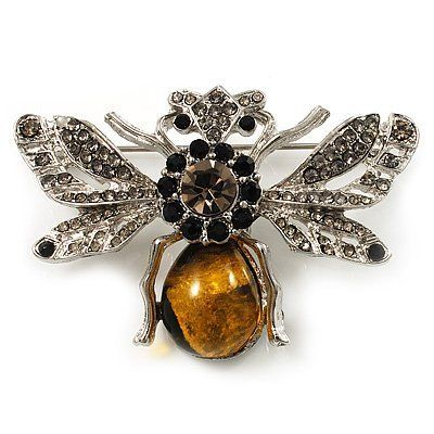 Art Deco Bumble-Bee Brooch (Silver Tone) Avalaya. $27.00. Material: perspex (acrylic). Metal Finish: rhodium plated. Gemstone: diamante. Occasion: cocktail party, casual wear. Theme: insect, bee