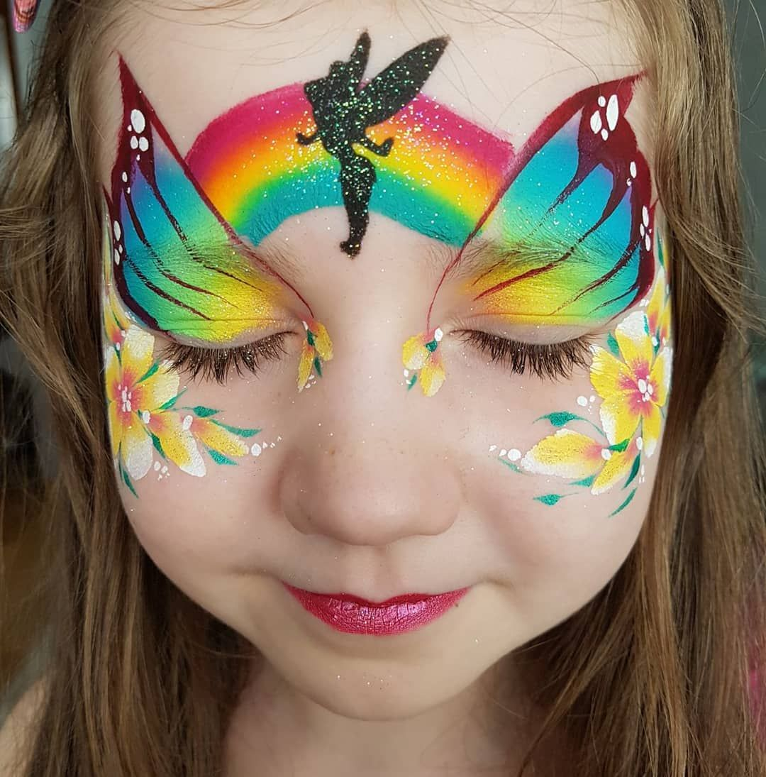 Tinker Belle Face Painting Face Painting Designs Girl Face Painting Rainbow Face Paint