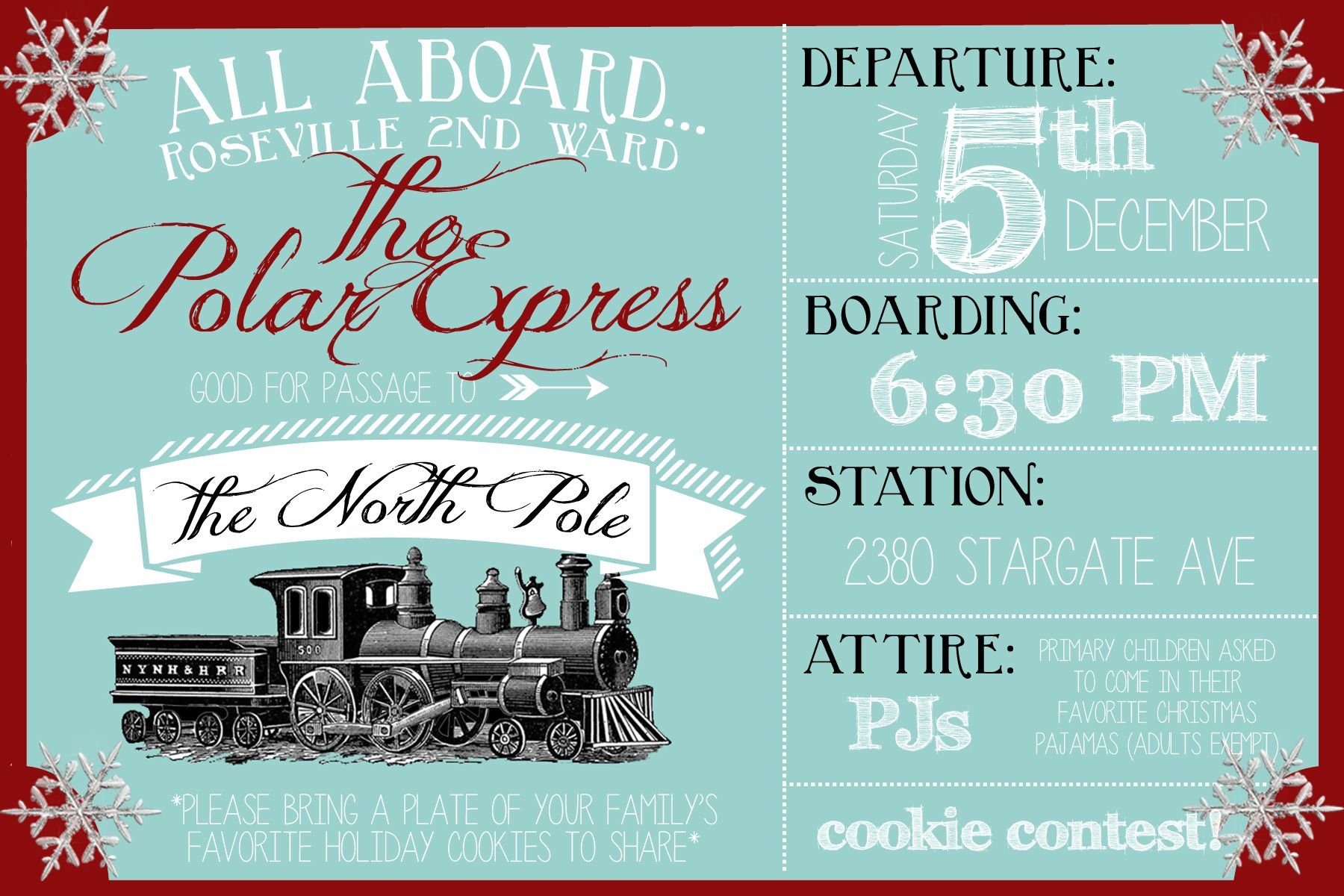 Polar Express Party Invitation – Christmas Party Ticket Template Free