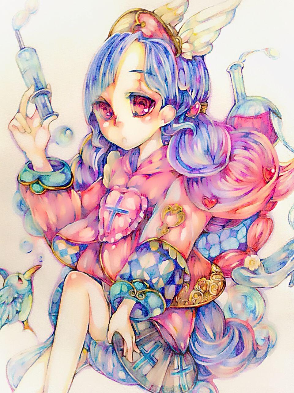 色鉛筆 女の子 イラスト イラスト 女の子イラスト 色鉛筆