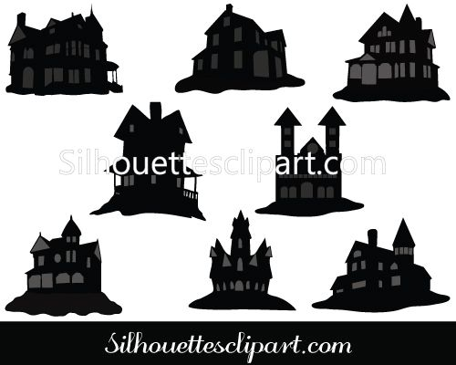Haunted House Silhouette Vector Graphics Download House Silhouette Halloween Vector Silhouette Vector